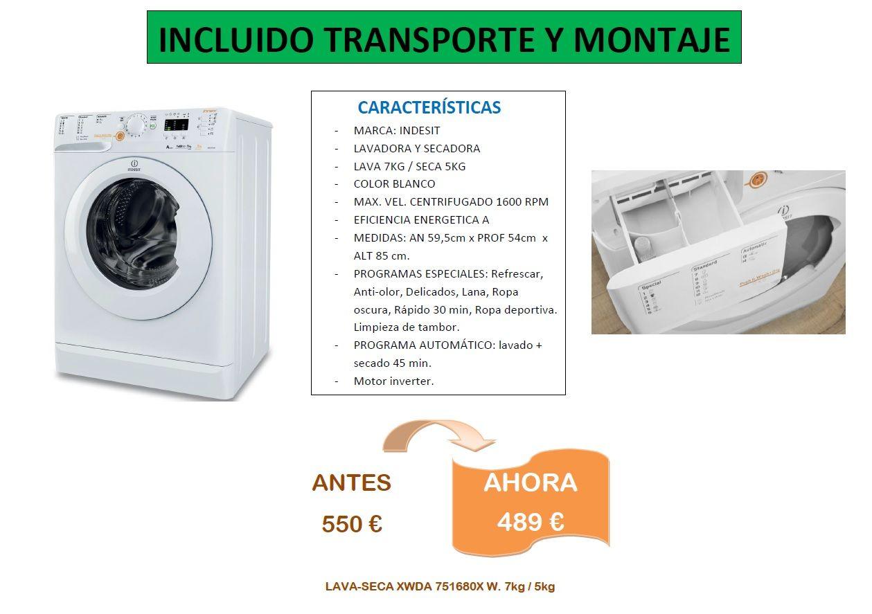 Lavadora-secadora indesit xwda 751680x de color blanca en oferta, estamos en Muebles Bravo, Valdemorillo, Madrid