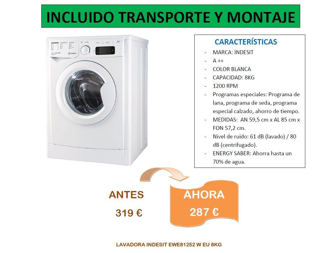 Lavadora indesit de 8kg en oferta, modelo ewe81252, estamos en muebles bravo, Valdemorillo, Madrid