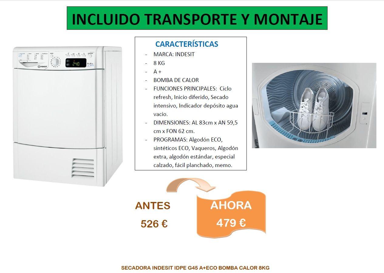 Secadora indesit de 8kg de color blanca IDPE G45 A plus ECO Bomba de calor en oferta, situados en Decoracion Bravo,Valdemorillo, Madrid